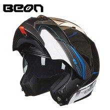 2017 BEON B700 moto Virar para cima do capacete, lente dupla undrap rosto capacetes de moto feito do ABS tamanho M L XL