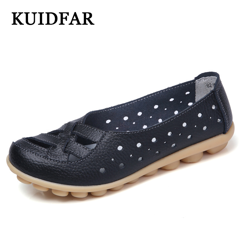 KUIDFAR 2017 Shoes Woman Genuine Leather Women Shoes Flats Colors footwear Loafers Slip On Women's Flat Shoes moccasins 2017 new leather women flats moccasins loafers wild driving women casual shoes leisure concise flat in 7 colors footwear 918w