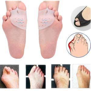 Image 1 - 2Pcs פיקה מתקן כאב הקלה פטיש הבוהן מפריד עם קדמת כף הרגל טיפול רפידות הגנת בוהן Valgus רגל לעיסוי חם