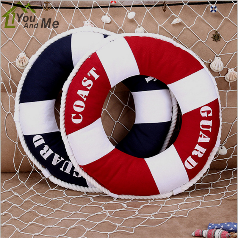 40x40cm Round Mediterranean Style Lifebuoy Shaped Cushion Throw Nautical Pillow Chlidren Bedroom Decorative
