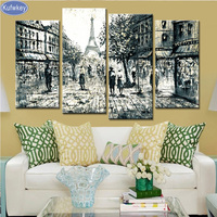 4PCS Landscap City Diy Diamond Embroidery Picture Of Rhinestones Triptych Almaznaya Mosaic Cross Stitch Diamond Painting