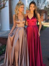 Burgundy Evening Dresses 2019 New V Neck Spaghetti Strap A Line Elegant Satin Sweep Train robe de soiree Formal Party Prom Gowns