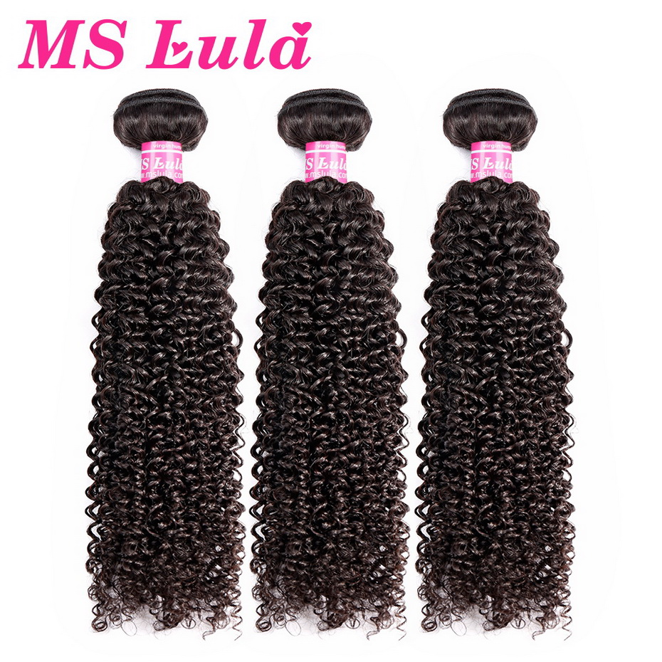 Ms Lula Mongolian Kinky Curly Human Hair Weave Bundles 3 PCS/Lot 100% Remy Hair Weft Natural Color Hair Extension Free Shipping