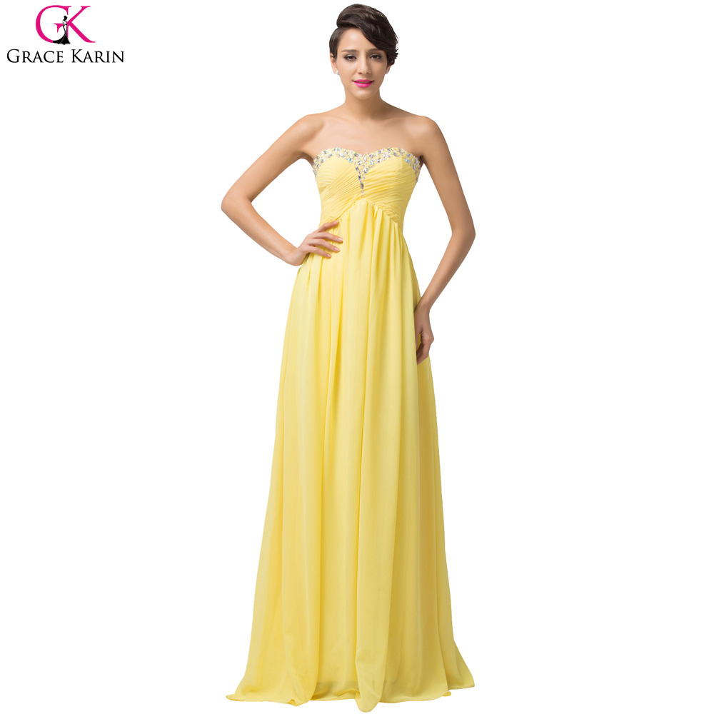 Grace Karin Dress Chiffon Elegant Evening Dress Long Yellow Party ...