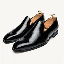 Black Shinny Patent Leather Men Dress Loafers Slip On Soild Italian Mens Shoes Plus Size Brands Party And Wedding Flats Designer недорого