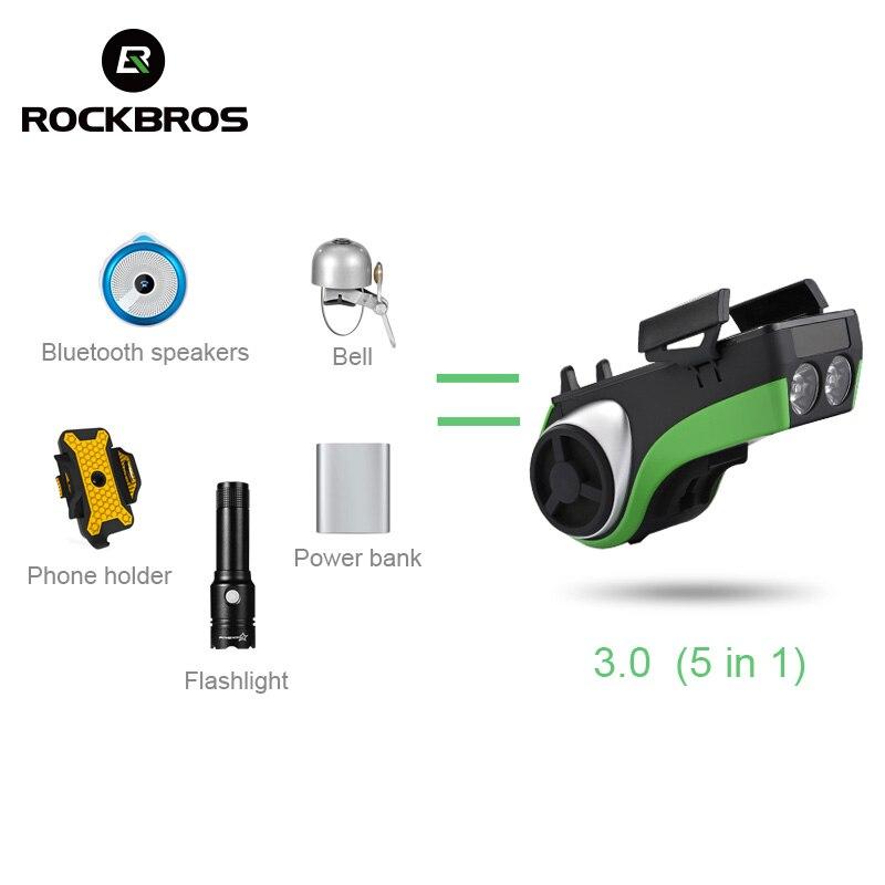 ROCKBROS Cycling MTB Holder Light Waterproof Bike 5 In 1 Multi Function Light Battery Power Bank