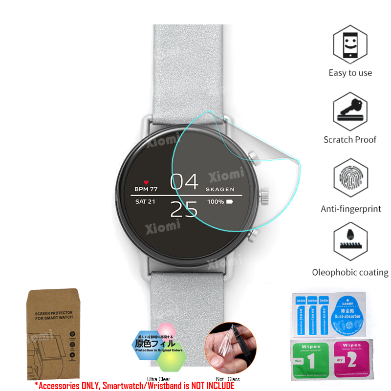 10Pcs/Lot(5Films+5Wipes))For Skagen Falster 2  Bluetooth Multisport Smartwatch Screen Protector Tempered Glass Protective Film