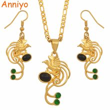 Anniyo Papua New Guinea Black Pearl & Green Stone Bird Pendant Necklace Earrings Sets PNG Ethnic Jewelry Party Gifts #137906GN(China)