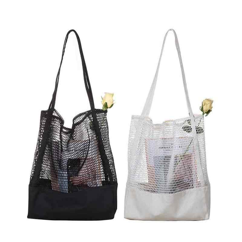 Gaya Korea Bahu Pantai Tas Kasual Kanvas Hollow Keluar Friendly Shopping Shopper Tangan Tas Tas Fashion Tas Kantong