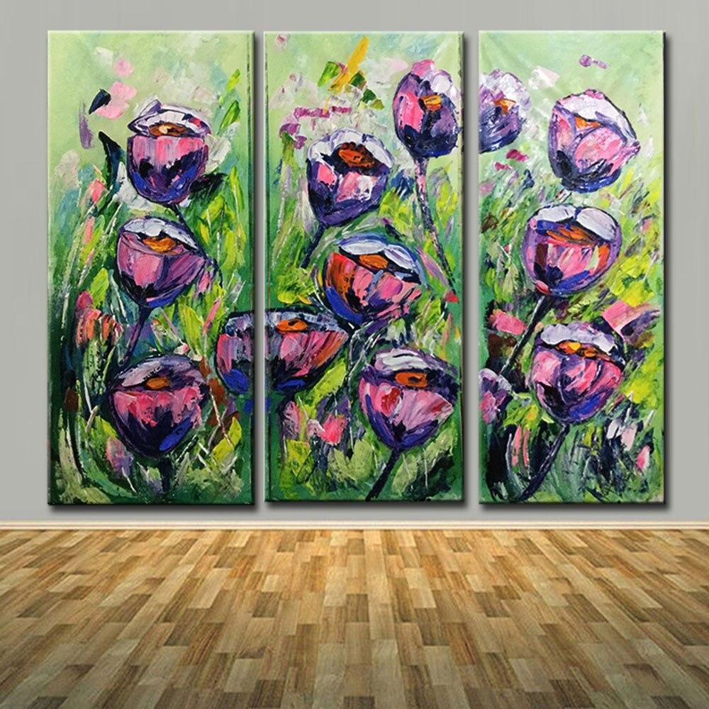 Peint à la main grande fleur violet rose Roses peintures à l'huile triptyque trois panneaux texturé Art mur photo salon décor à la maison