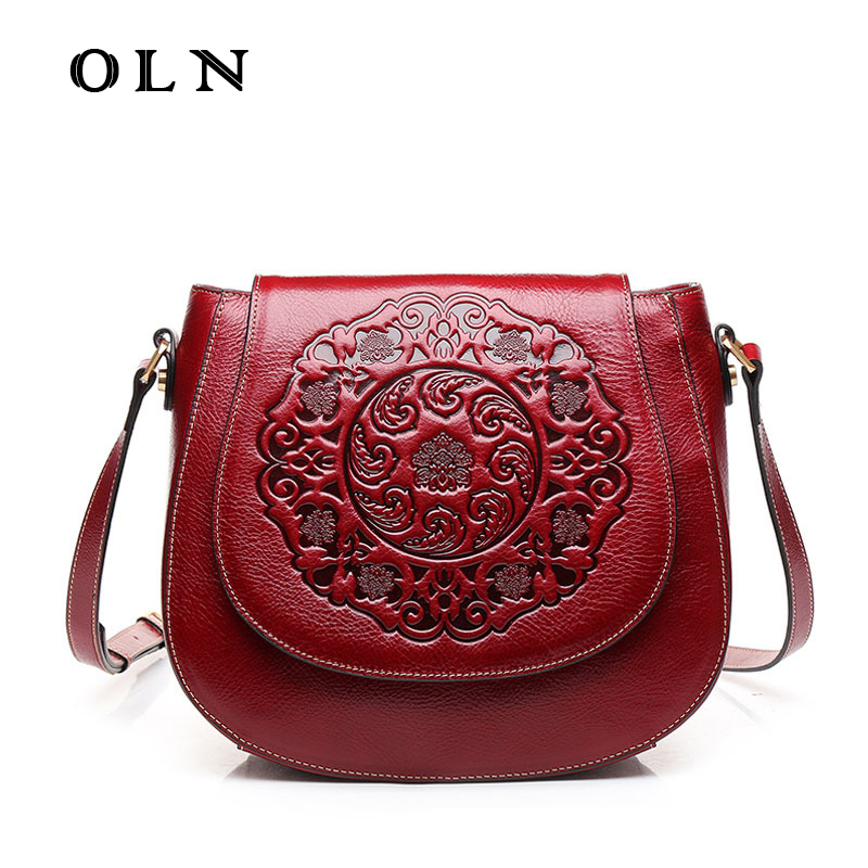OLN Luxury Brand new Genuine Leather retro handbag shoulder bag small round bag Messenger bag embossed Fashion wind bag new brand genuine leather women bag fashion retro stitching serpentine quality women shoulder messenger cowhide tassel small bag