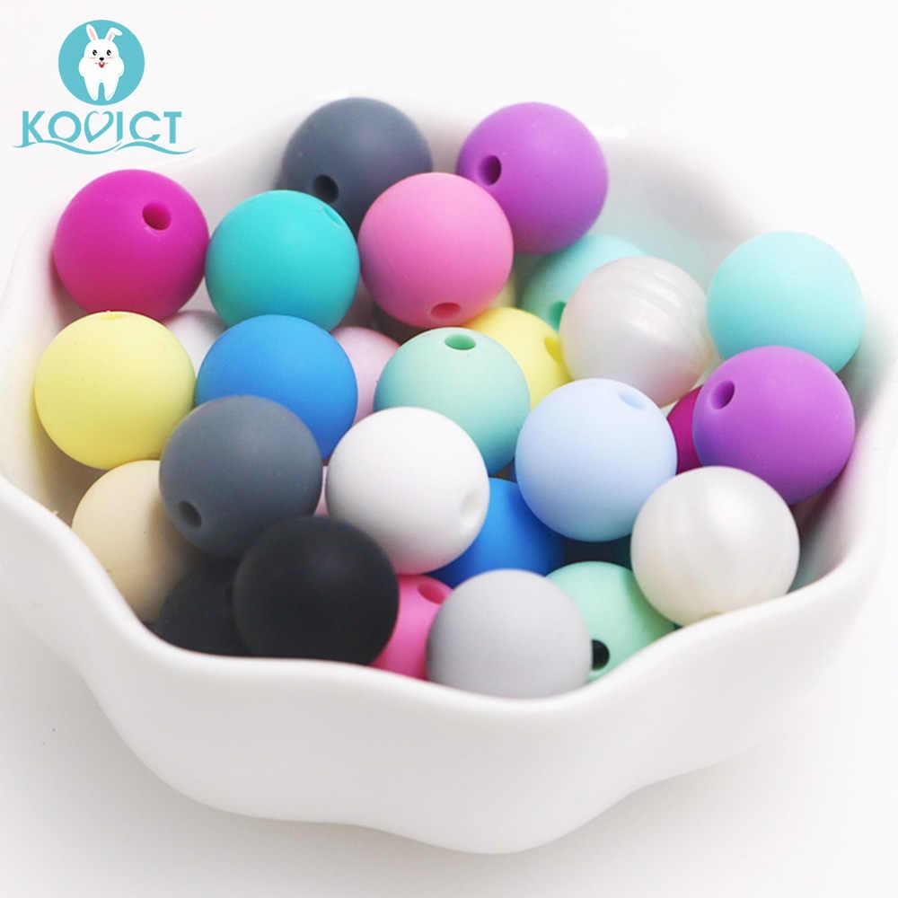 Kovict 50Pcs Bulat Silikon Beads 12 Mm Baby Teether Ramah Lingkungan Sensorik Teething Kalung Food Grade Ibu Perawatan Hewan Pengerat
