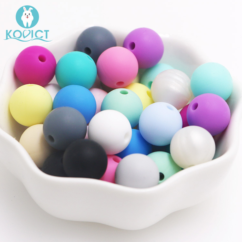 Kovict 50Pcs Round Silicone Beads 12mm Baby Teether Eco-friendly Sensory Teething Necklace Food Grade Mom Nursing Rodent