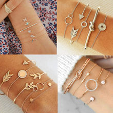 DIEZI Punk Butterfly Eye Star Moon Leaves Crystal Gem Shiny Gold Multilayer Chain Bracelet Set Women Exquisite Party Jewelry(China)