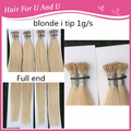 Best Quality 20 22 24inch Brazilian Remy Standard 1g/s Prebonded Fusion Blonde i tip human hair extensions stick hair extensions
