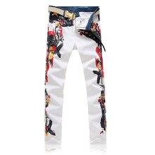 2016 новые люди печать цветной рисунок или узор ночные клубы джинсы, Известный бренд мода джинсовые свободного покроя брюки мужчины, Плюс брюки-размер 28 — 40