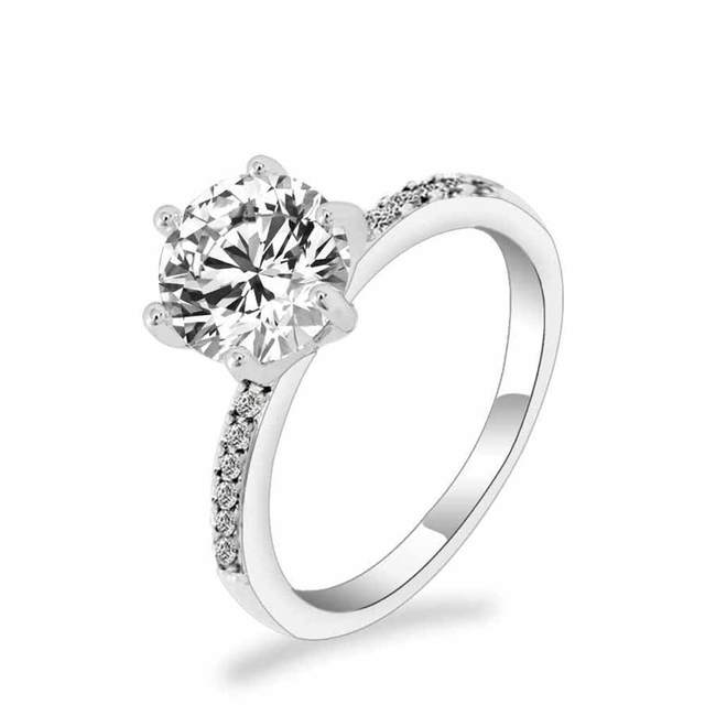 FAMSHIN 2017 Classic Engagement Ring 6 Claws Design AAA White Cubic Zircon Femal