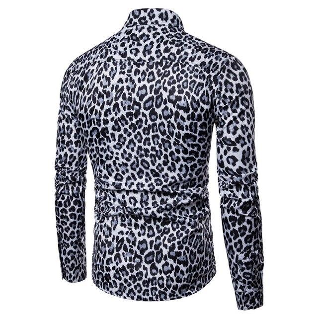 Men Leopard Print Long Sleeve Shirt