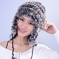 Wholesale female winter plus size elasticity Thicken Rex rabbit warm skullies beanies fur hats Ear protection fur caps
