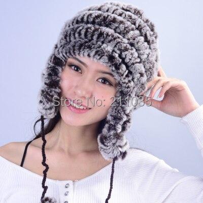 Wholesale female winter plus size elasticity Thicken Rex rabbit warm skullies beanies fur hats Ear protection fur caps