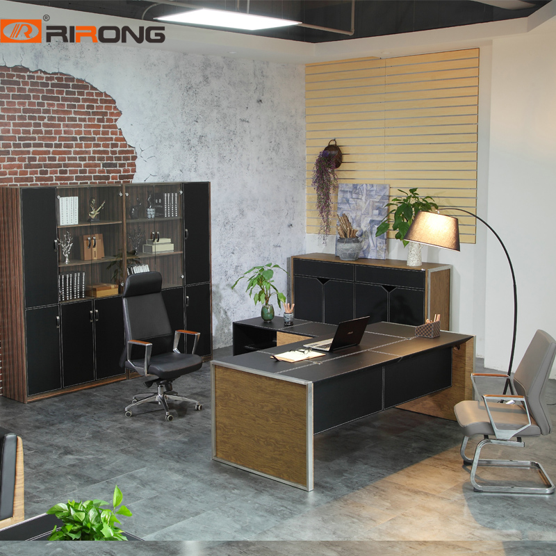 Black Color 1.8m  Small Size Leather With Wood Veneer Office Study Computer Manager Boss Office Table
