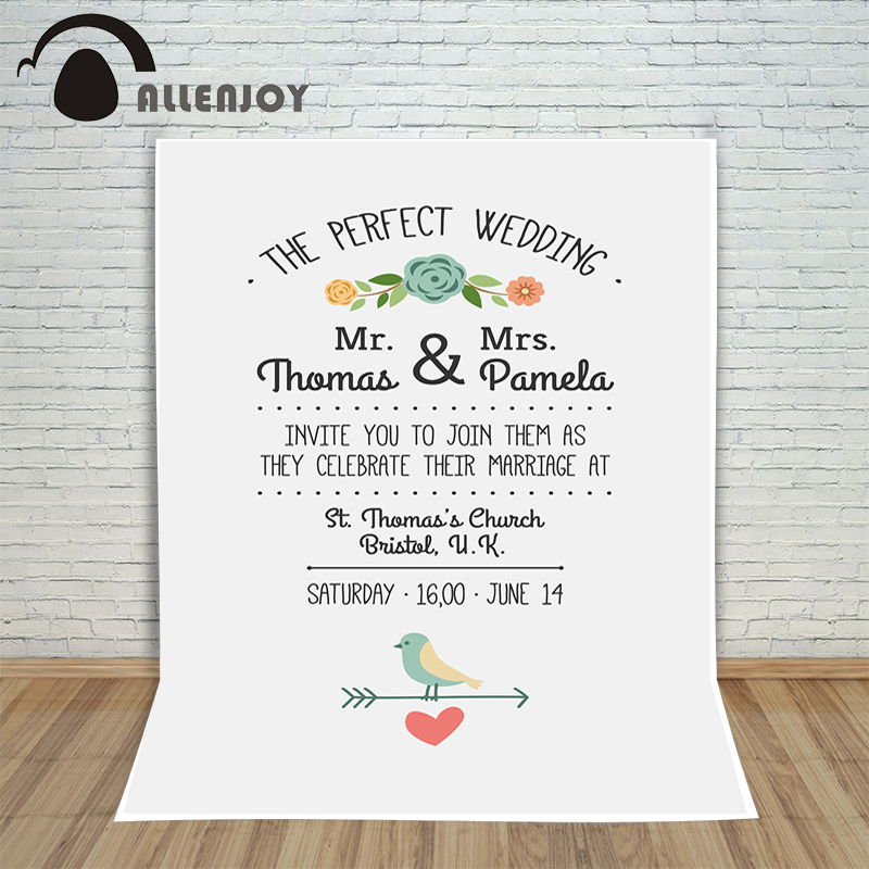 Allenjoy photography backdrops romantic personalize information white backdrop Photocall for wedding custom photo background