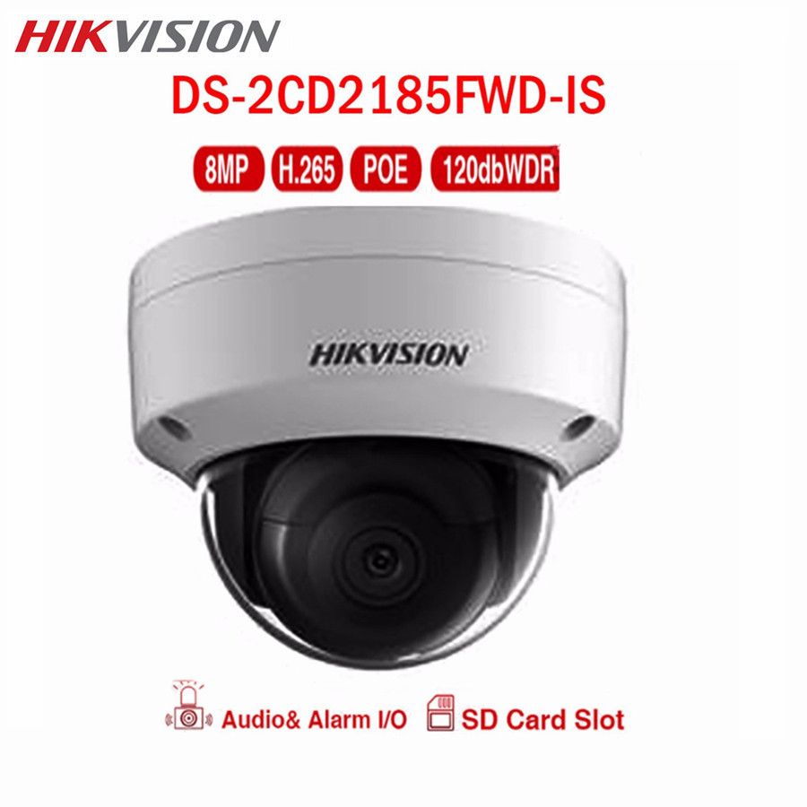 Hikvision CCTV IP 8MP POE Camera DS-2CD2185FWD-IS WDR Audio Onvif H.265 SD Card IR Night version Surveillance Security Camera 8mp ip camera cctv video surveillance security poe ds 2cd2085fwd is audio for hikvision dahua dvr hik connect ivm4200 camcorder
