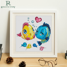 Romantic Story Cross Stitch Kits With Pre-Printed Funny Cartoon Fish Pattern For Beginners Starter Embroidery Art Wall
