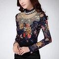 Высокое Качество Женщины Блузки Повседневная Мода Цветочные Девушка Кружева Блузка Алмаз Бисером Кружевные Рубашки Одежды