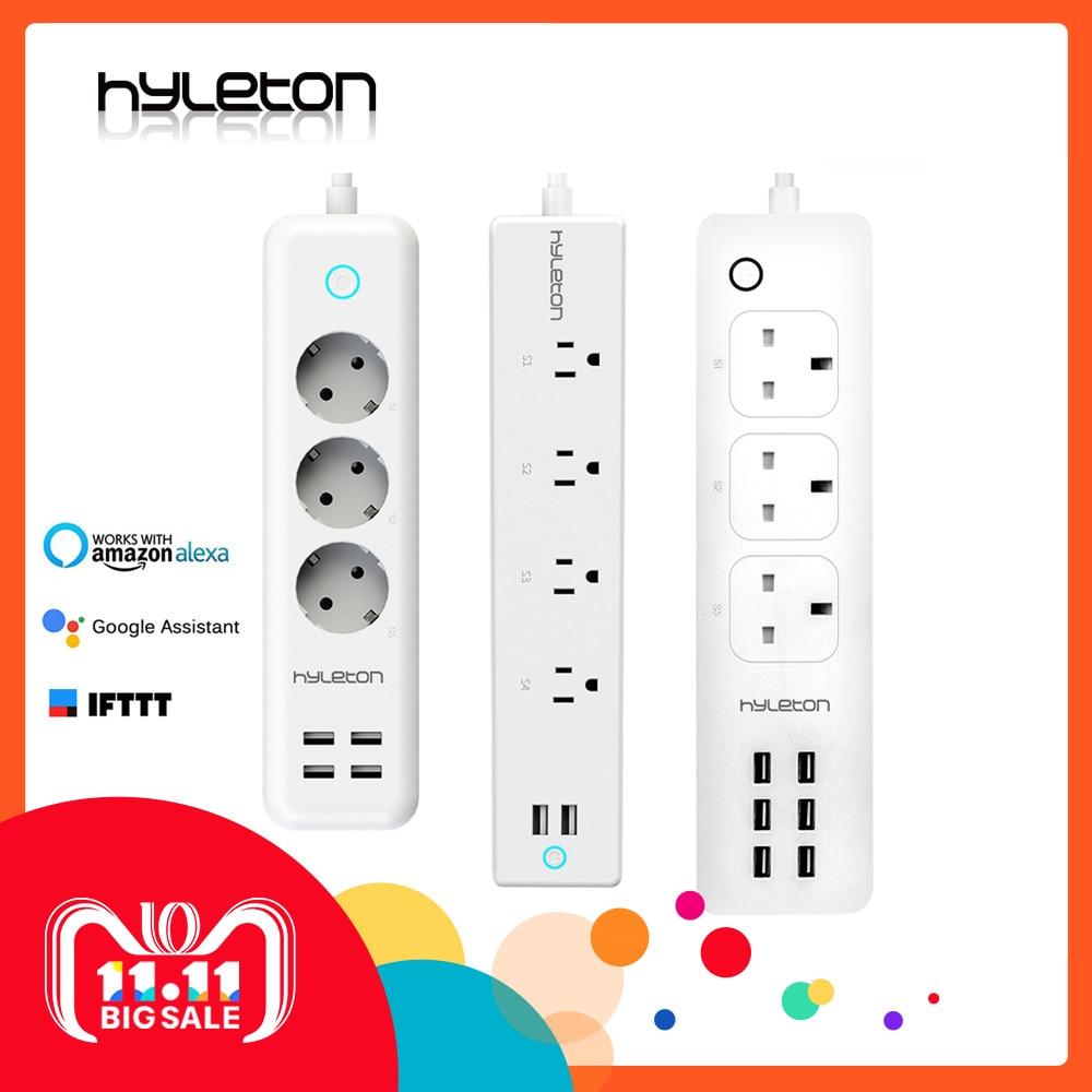 Hyleton wifi USB Bande de Puissance intelligent US plug Surcharge Interrupteur Parasurtenseur 4 Sortie 2 Port USB Chargeur 2 m 15A wifi prise