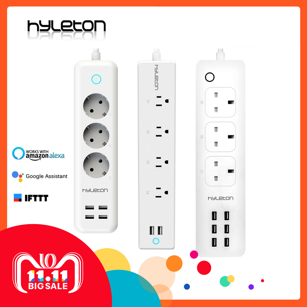 Hyleton wifi USB Power Strip smart US plug Overload Switch Surge Protector 4 Outlet 2 Port USB Charger 2m 15A wifi socket smart power board alexa wifi surge protector 4 eu sockets 3 usb port smart sockets with overload switch timer wireless voic