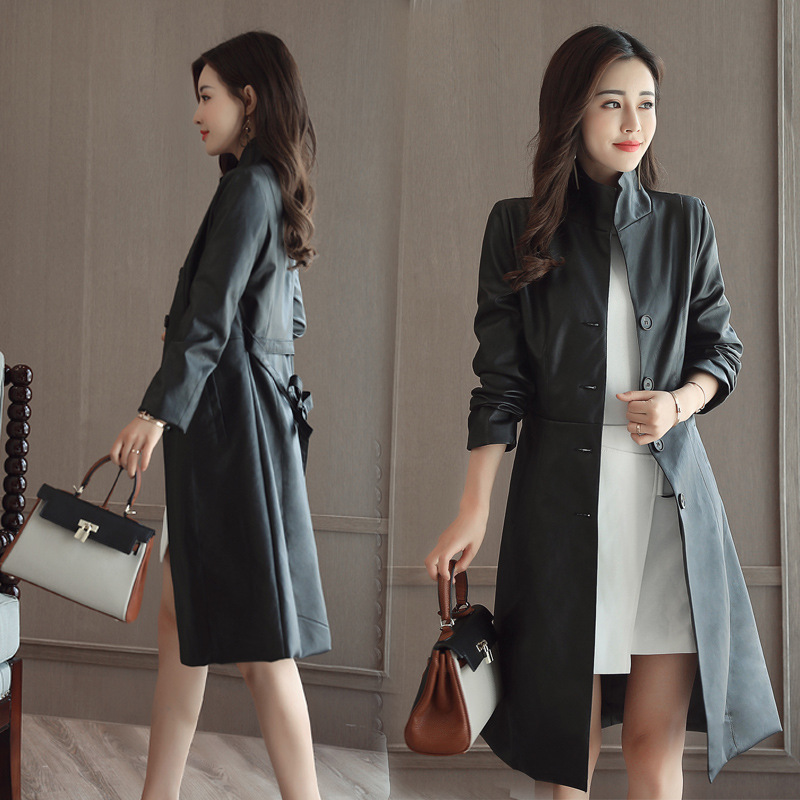 2017 Spring Autumn Women Leather coat Fashion High-end PU Leather Coats Plus size M-3XL long Belted Slim PU Leather Trench Coats m 3xl hot 2018 spring men s new fashion conventional models slim collar pu leather jacket