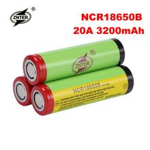 Znter 100%Original 3200mAh NCR18650B Battery Lithium 18650 Rechargeable for e-cigarette Flashlight 20A Batteries