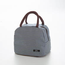 Fashion Simple thickened stripe thermal insulation bag  waterproof lunch box 24*17*21cm