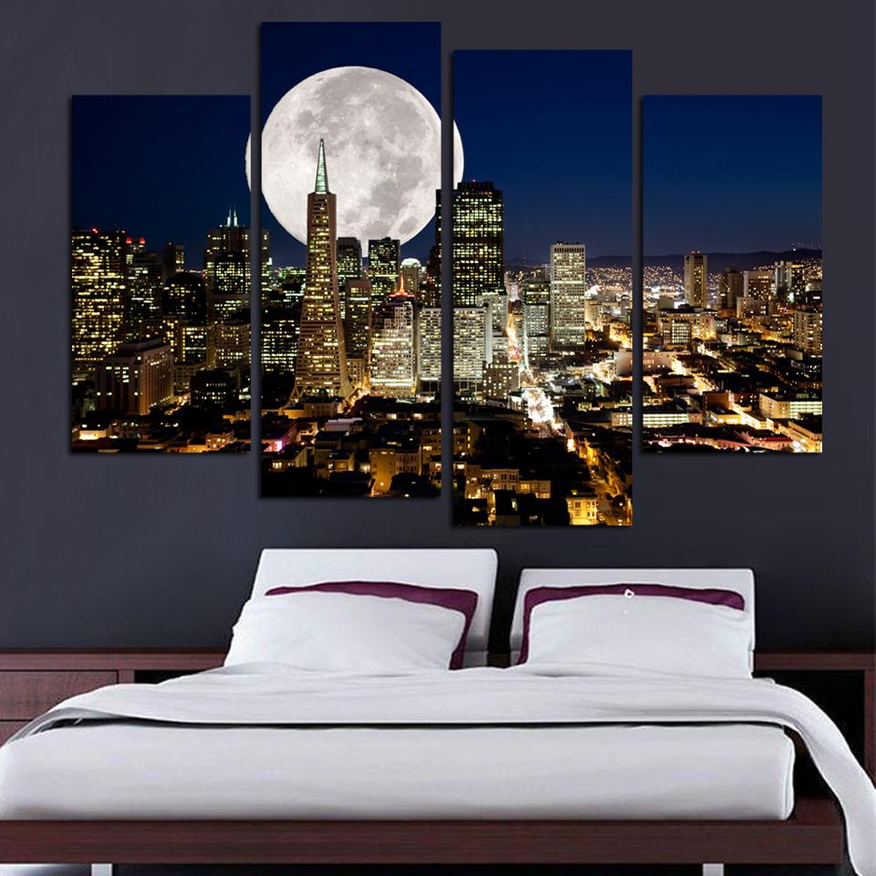 4pcs Modern Living Room Home Decor Wall Art Picture Print San Francisco Full Moon Night Cityscape Painting On Canvas PT0430