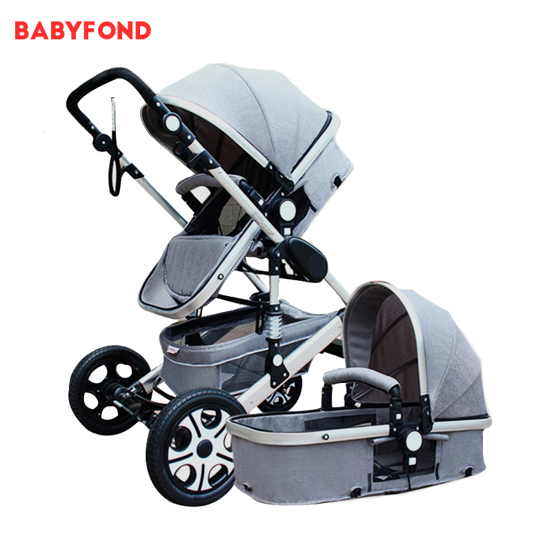 Babyfond 2 in 1 high landscape strollers can sit and lying trolley folding newborn umbrella carts