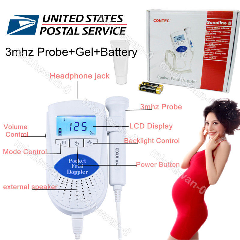 ФОТО 17 new US Sale CONTEC Sonoline B 3mhz Portable Baby Heart Beat Monitor Doppler with Display,Gel