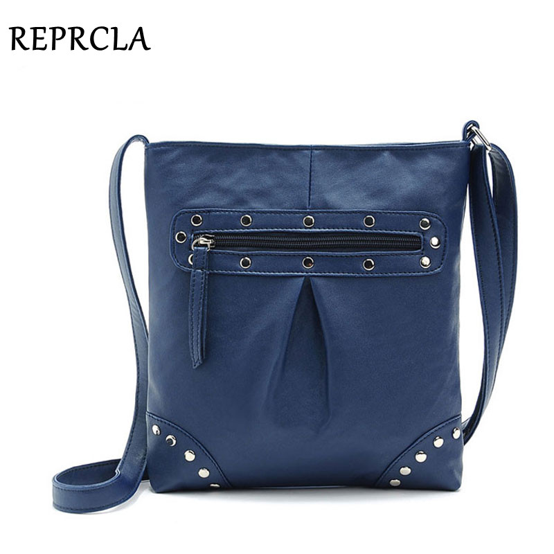 REPRCLA New Style Women Messenger Bag Fashion Rivet Crossbody Shoulder Bags PU Leather Designer Ladies Bag Bolsas Feminina N0301 sunmejoy fashion ribbons handbags designer women bag crossbody bags rivet shoulder bags embroidered floral women messenger bag