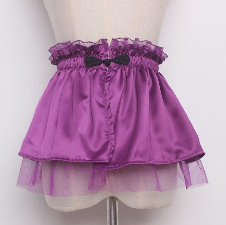 Women's Runway Fashion Mesh Patchwork Satin Cummerbunds Female Dress Corsets Waistband Belts Decoration Wide Belt R1374