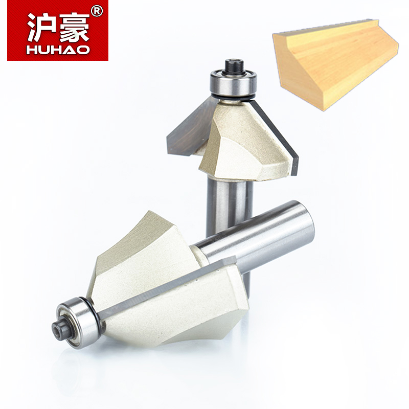 HUHAO 1pcs 1/2 Shank Chamfer Cutter Router Bits for wood Horse Nose Bit 45 Deg CNC Woodworking Tools two Flute endmill
