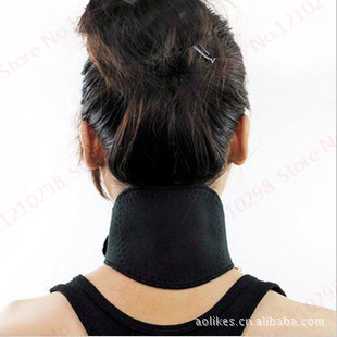 Black Neck Protector Tourmaline Self-Heating Neck Support Strain Relief Magnetic Therapy Neck Brace Wrap