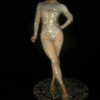 Sparking Crystals Jumpsuit Stage Wear Costume Bling Rompers Women Suit Silver Bodysuit Birthday Celebrate Bar Clothes Wear DT388