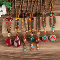 New Design Nepal Wood Beads Necklaces Natural Stone Pendant Long Sweater Necklace For Women Men
