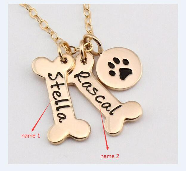 Name Necklace Dog Paw Necklace Personalized Dog Necklace Paw Print Dog Bone Initial Charm Pet Jewelry for gift  2