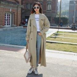 Nieuwe Aankomst Vrouwen Mode Vakantie Comfortabele Losse Trenchcoat Professionele Ol Temperament Solid Meisjes Warm Outdoor Lange Geul