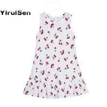 ea17481c2 Nuevo 2018 algodón de la impresión de la cereza chica verano otoño  adolescentes 13 14 años Ucrania casual playa Vestidos vestido.