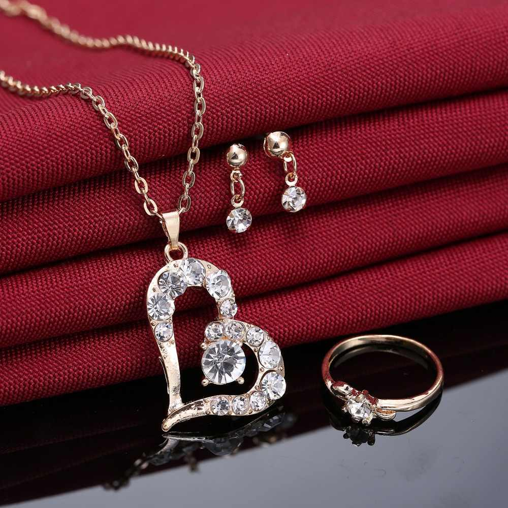Romântico charme amor coração conjunto de jóias pingente de ouro colar para mulheres menina festa de casamento noivado jóias presente