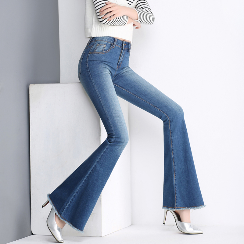 Promotion women's Bell bottom jeans big size female slim cotton denim trousers water wash denim pants flares free shipping 0429