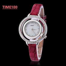 Fashion Women Brand Watches Dress Quartz Analog Hollow Out Case Red Leather Band Original Ladies Gift Watches W023