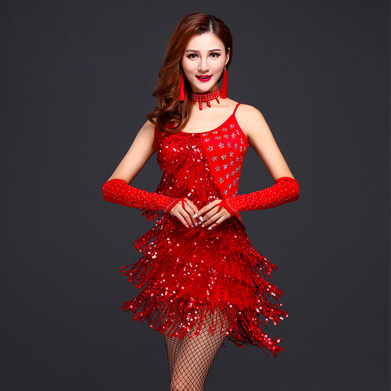 2018 New Arrival Women Girls Sequin Fringe Tassel Skirt Ladies Sexy Unequal Latin Tango Ballroom Salsa Dance Dress For Women
